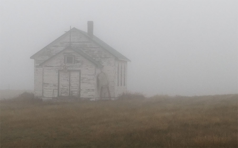 Misty church